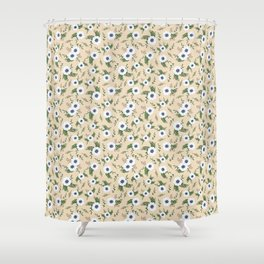 Yellow Anemones Floral Pattern Illustration Shower Curtain