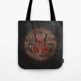 The hammer of Thor Black Red Leather and gold Tote Bag
