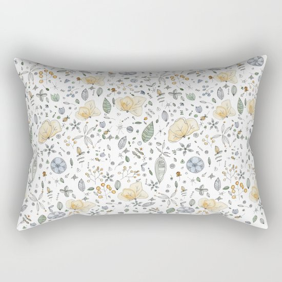 Flower Garden Watercolor Rectangular Pillow