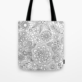 White Doodle Pattern Tote Bag