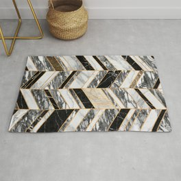 Abstract Chevron Pattern - Black and White Marble Rug