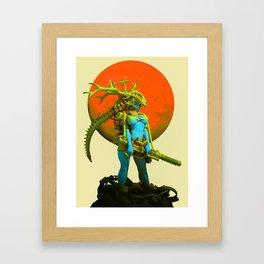 Red moon hunter Framed Art Print