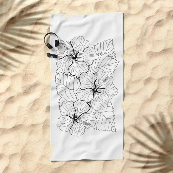 Tropical bouquet of hibiscus with leaves Beach Towel