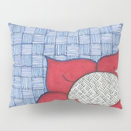 Red Daisy on Blue Striped Background Pillow Sham
