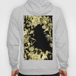 Stardust Black and Gold Floral Motif Hoody