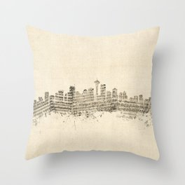 Seattle Washington Skyline Sheet Music Cityscape Throw Pillow