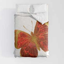 Gold Glitter Scarlet Red Butterfly Design Comforters