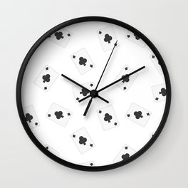 Playing cards clubs Wall Clock