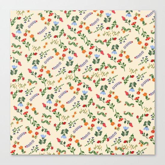 Bright Vintage Flower Pattern Canvas Print