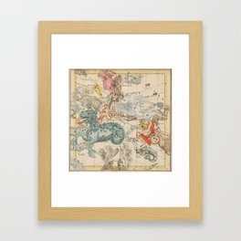 Vintage Celestial & Astrological Map  (1693) Framed Art Print