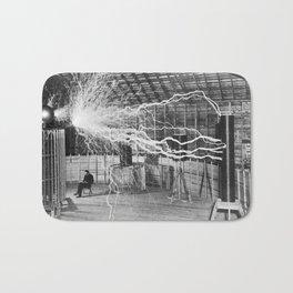 Nikola Tesla Vintage Photograph Double Exposure Electricity, 1889 Bath Mat