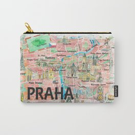 Prague Czech Republic Illustrated Map with Landmarks and Highlights Carry-All Pouch