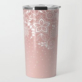Elegant white lace floral and confetti design Travel Mug