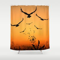 freedom Shower Curtains featuring Freedom by Cs025