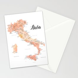 Rose gold Italy map in watercolor Stationery Cards