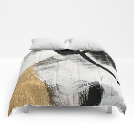Armor [9]: a minimal abstract piece in black white and gold by Alyssa Hamilton Art Comforters
