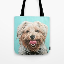 Adorable Yorkie Painting, Yorkshire Terrier Portrait, Smiling Yorkie Art Tote Bag
