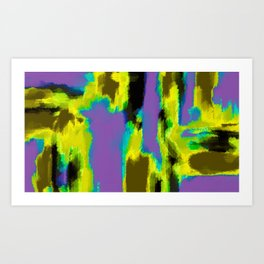yellow green blue and black painting abstract with purple background Art Print