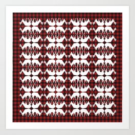 Oh, deer! in lumberjack plaid Art Print