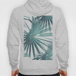 Teal Aqua Tropical Beach Palm Fan Vector Hoody