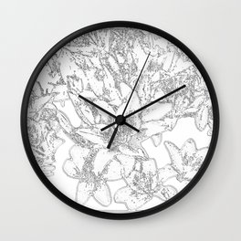 Large flowers pencil effect Wall Clock