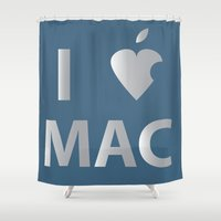 mac Shower Curtains featuring I heart Mac by Simple Symbol