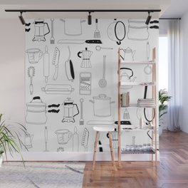 Kitchen essentials in black and white Wall Mural
