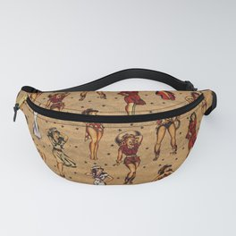 Vintage tattoo pinup, rockabilly pin up girls Fanny Pack