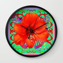 Italian  Style Design Red Amaryllis Abstract Wall Clock