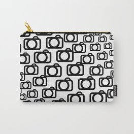Photography Obsession, Camera Pattern Black and White Vector Carry-All Pouch