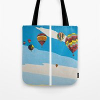 hot air balloons Tote Bags featuring Hot Air Balloons by Shelley Chandelier