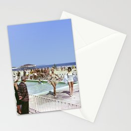 1950's Beauty Pageant by the Pool with 3 women in bathing suits and a bunch of men watching. Stationery Cards