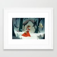 red hood Framed Art Prints featuring red hood by brutal moineau