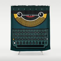 typewriter Shower Curtains featuring typewriter by The Geek Store