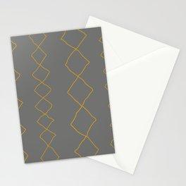 Moroccan Diamond Stripe in Grey Mustard Stationery Cards