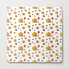 Cozy Autumn Harvest Pattern Metal Print