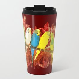 Colorful budgies pattern Travel Mug