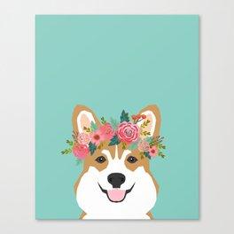 Corgi Portrait - dog with flower crown cute corgi dog art print Canvas Print