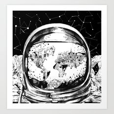 astronaut world map black and white 1 Art Print