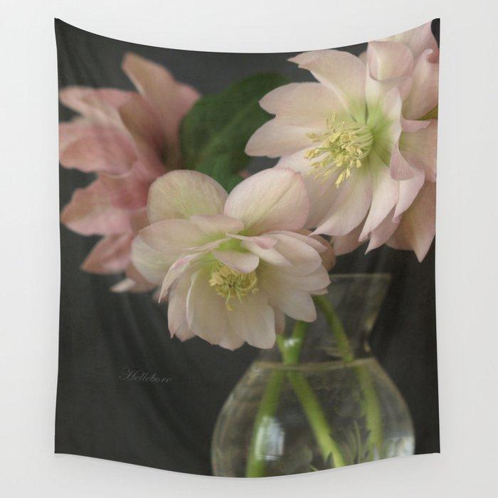 Hellebore Flowers In Vase Wall Tapestry By