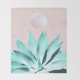 Stellar Agave and Full Moon - pastel aqua and pink Throw Blanket