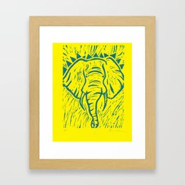 Friends of David Sheldrick Wildlife Trust - Yellow and Blue Elephant Print Framed Art Print