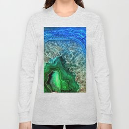 Turquoise Green Agate Mineral Gemstone Long Sleeve T-shirt