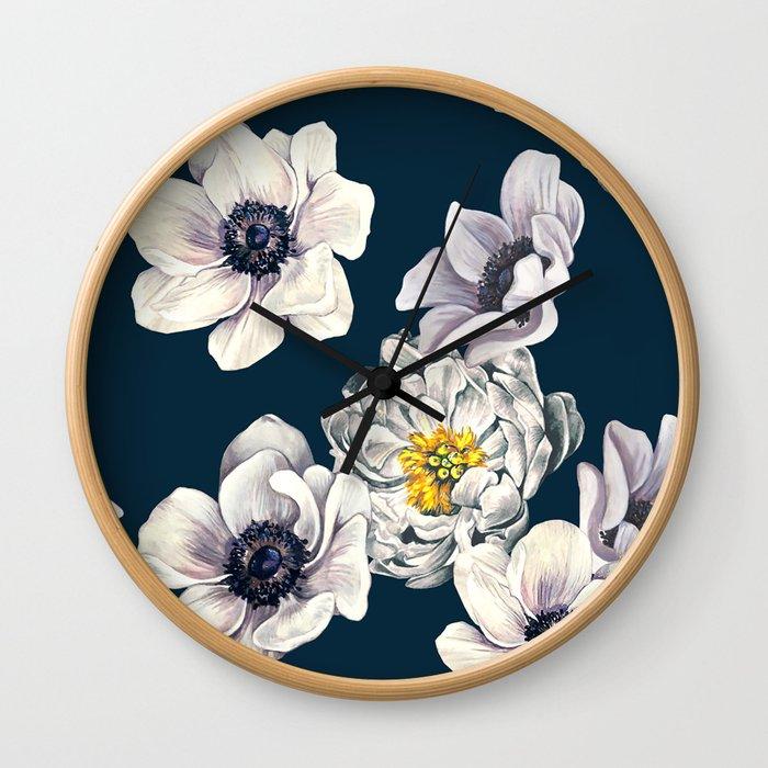 White Flower Rain Wall Clock