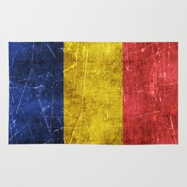 Vintage Aged and Scratched Romanian Flag Rug