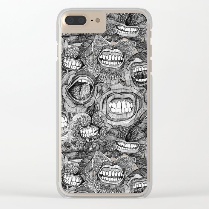 BITE ME roses and orchids BLACK WHITE Clear iPhone Case