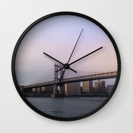 Manhattan Bridge at Sunset Wall Clock