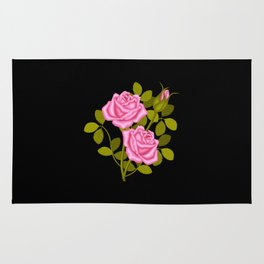 Painted Pink Roses Rug