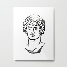 Dionysos,marble, Greek and Roman sculpture painting, watercolor painting Metal Print