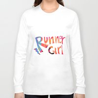 runner Long Sleeve T-shirts featuring Runner Girl by Cole Design